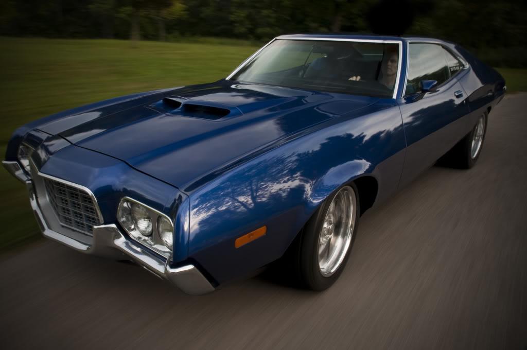 '72 Torino blue driving restomod