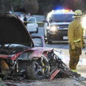 Wreckage of Porsche in which Paul Walker and Roger Road were killed